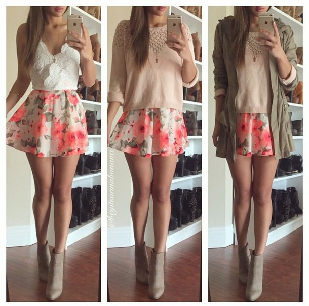skirt floral floral skirt floral instagram style fashion cute skirt top sweater jacket flowers outfit shoes orange