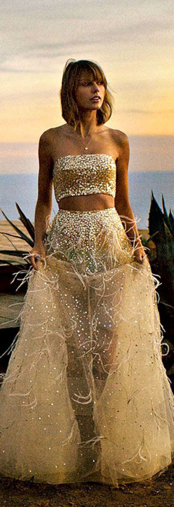 Taylor swift two piece gold sequin tulle feather dress for Haute couture photoshoot