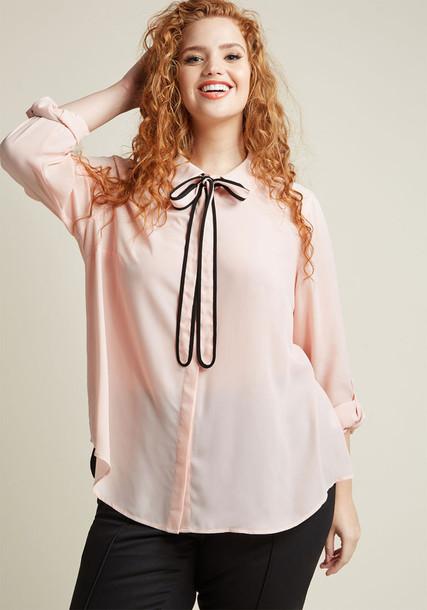 Modcloth top long blush pink