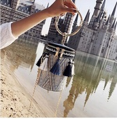 bag,clutch,tassel,gold,crossbody bag