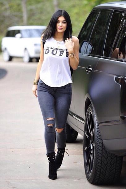 shirt white & black i'm somebody's duff kylie jenner duff