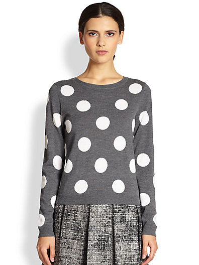 Alice   Olivia - Celyn Wool Polka Dot Sweater - Saks.com