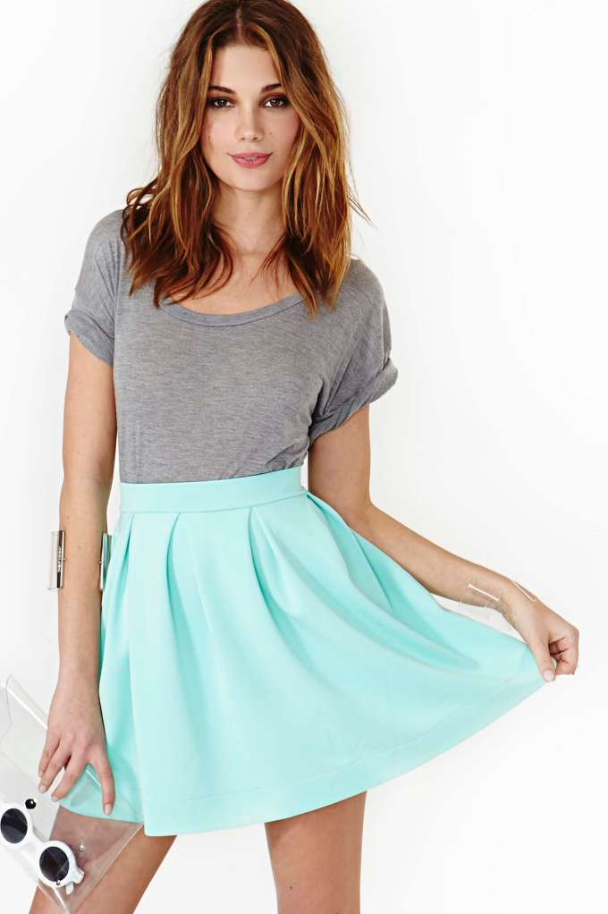 Scuba Skater Skirt - Mint  in  Clothes Bottoms Skirts at Nasty Gal