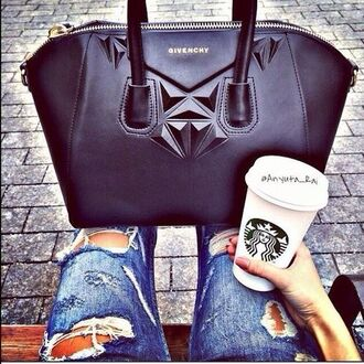 bag givenchy black diamonds amazing fashion leather jeans blue starbucks coffee