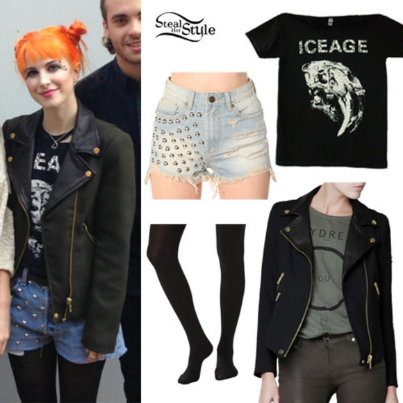 paramore hayley williams shorts shirt black tights blue leather jacket jacket orange hair t-shirt