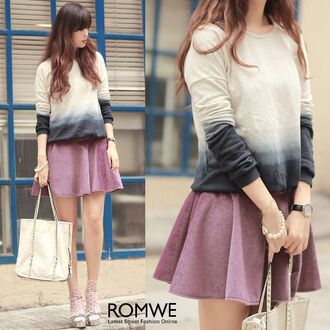 sweater romwe pullover blue-grey gradient