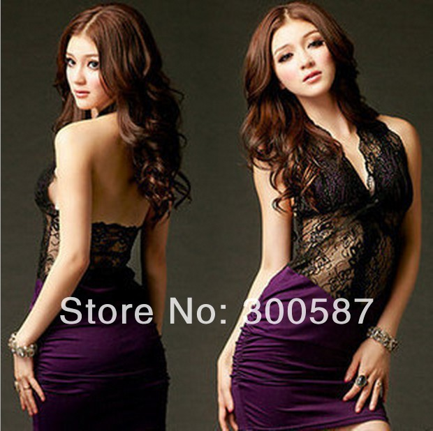 HT225,2014 clubs sexy hollow out lace Backless split joint ultrashort bag hip dress purple black one piece dress ,free shipping | Amazing Shoes UK