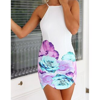 dress white flowers fancy party mini dress cut out back spaghetti strap casual bodycon dress
