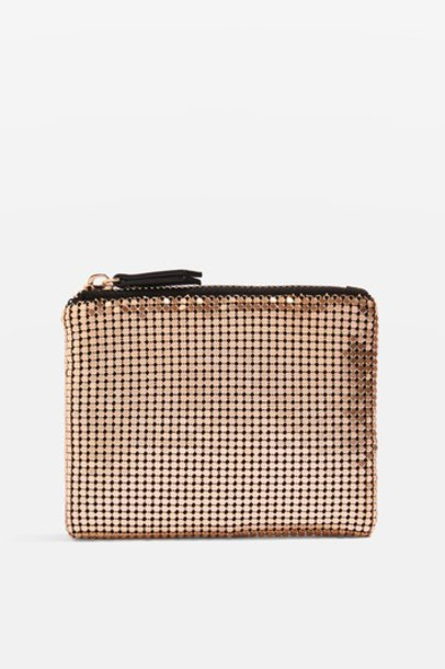 Topshop zip purse gold bag