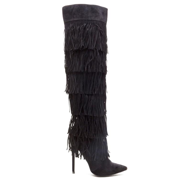 RENAISSANCE Fringe Knee Boot in Black at FLYJANE