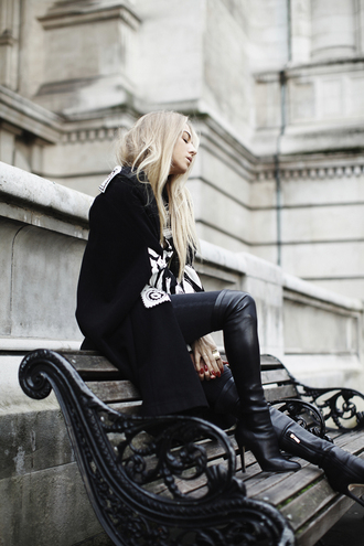 5 inch and up blogger jeans thigh high boots coat blonde hair