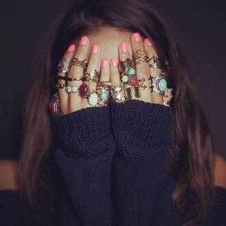 jewels sweater bohemian boho bulk ring nail polish jewelry boho ring gold ring big rings blue rings rings and tings silver ring knuckle ring blue light blue türkis love more inlove inlovewithit pink nails rings gold gypsy hippie crosses urban ring vintage to die for boho rings