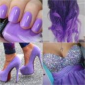 shoes,purple,purple dress,high heels,nail polish,dress,clothes,hair nails dress,heels