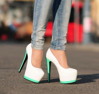 shoes white heels teal