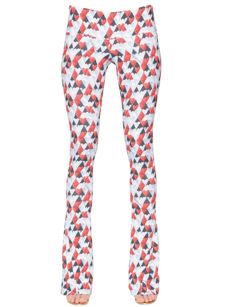 JUST CAVALLI Heart Printed Viscose Pants in blue / red