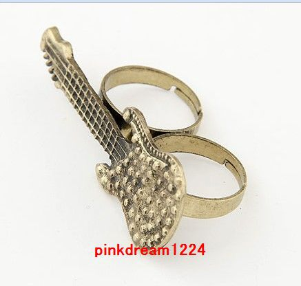 Free shipping hot sale! jewelry gift new hot style wholesale 24pcs bronze guitar two/double finger ring