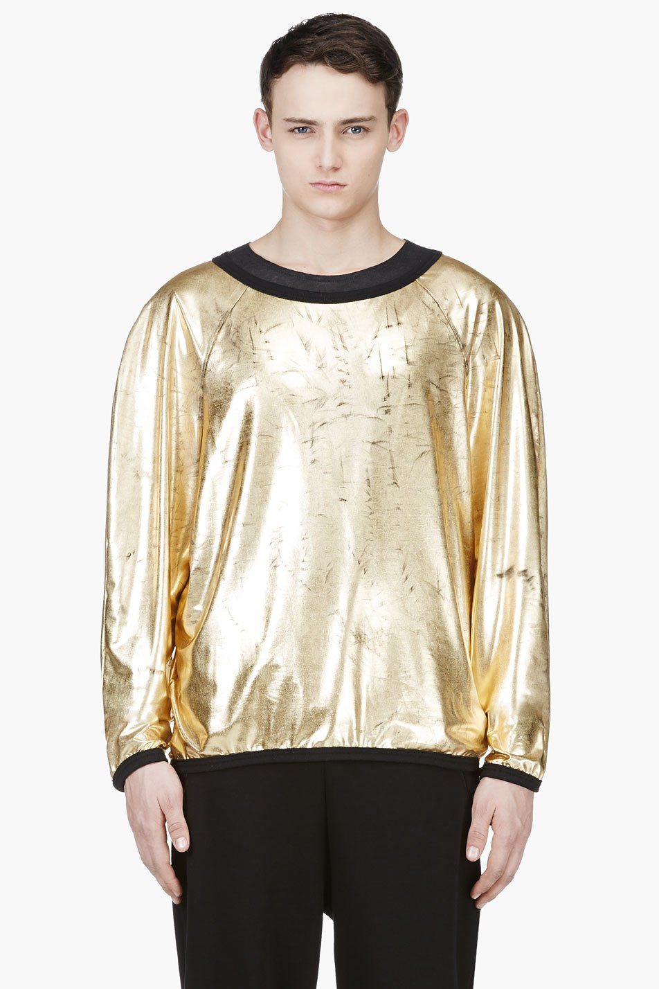 denis gagnon gold lam oversize boatneck top