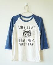 shirt,short,cats,cat ears,quote on it,blue,blue shirt,white,white t-shirt