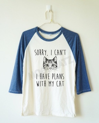 shirt short cats cat ears quote on it blue blue shirt white white t-shirt
