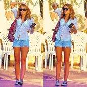 bag,pink,blue,white,blouse,jeans,shorts,miley cyrus,converse,sunglasses,shirt,white shirt,short,summer outfits,clothes,denim shorts