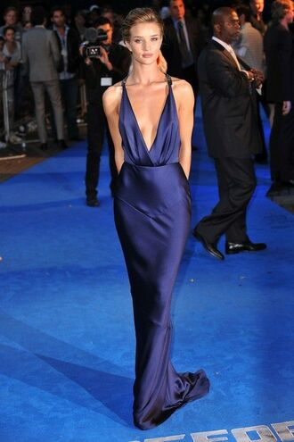 dress blue dress plunge v neck gorgeous fashion rosie huntington-whiteley