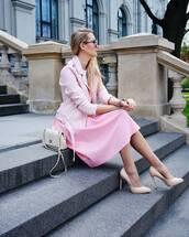 skirt,tumblr,midi skirt,pink skirt,jacket,pink jacket,all pink everything,all pink wishlist,pumps,pointed toe pumps,high heel pumps,bag,nude bag,spring outfits