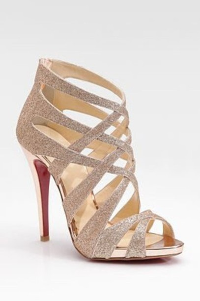 Shoes: high heels, heels, formal, gold heels - Wheretoget