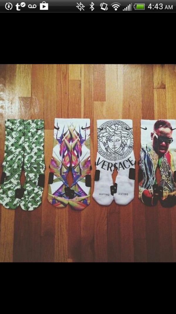 scarf versace biggie smalls louis vuitton nike socks printed socks