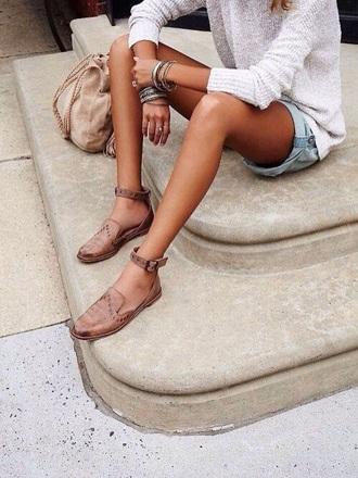 shoes flats leather flats tan denim shorts grey nude bag suede bag boho bag stacked bracelets summer outfits jumper fine knit jumper