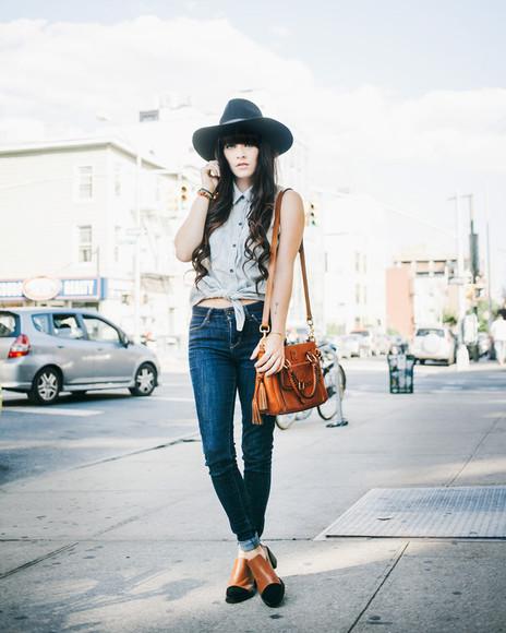 jeans shoes bag denim shirt jag lever blogger hat boots