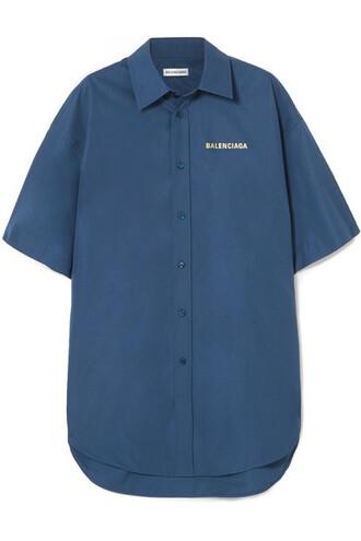 shirt oversized navy cotton top