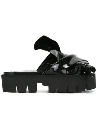bow women sandals platform sandals black shoes