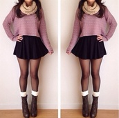 sweater,skirt,shoes,scarf,tights,black skirt,skater skirt,cropped,snood,cream,boots,heels,leg warmers,socks,lace up,combat boots,black,infinity scarf,brown boots,pinkish sweater,tan scarf,moda,aliexpress,clothes,dress,shirt,top,daisy,polarneck,jacket,big,cropped sweater,lavender,sweater weather,cream scarf,light pink,long sleeves,jumper,war,winter outfits,pink sweater,skater,punk,grunge,soft grunge,beautiful,pink,outfit,white dots,polka dots,dotty,taupe,plum,cropped jumper,blouse,cute,spring,purple,cute outfits,fall outfits,heyitsannabanana,polka dot sweater