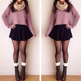 sweater skirt shoes scarf tights