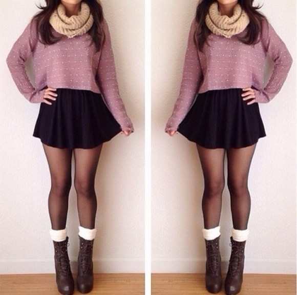 skirt black skirt shoes sweater scarf black