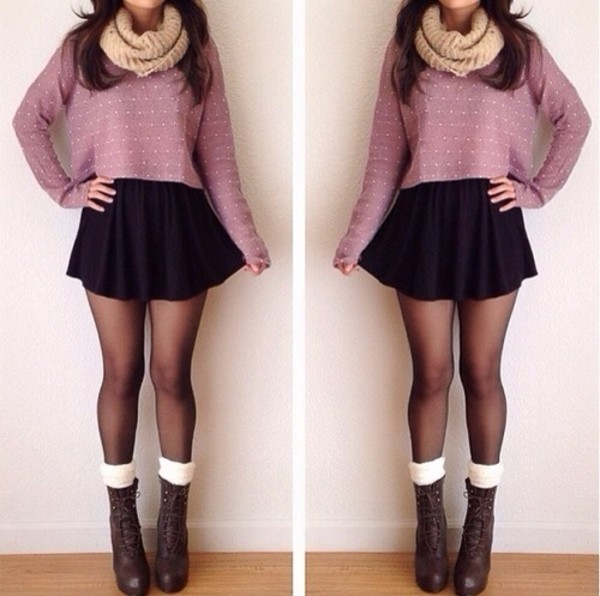 sweater skirt shoes scarf tights black black skirt jacket big socks top white dots polka dots dotty taupe plum cropped jumper blouse clothes sweater cute spring purple cute outfits