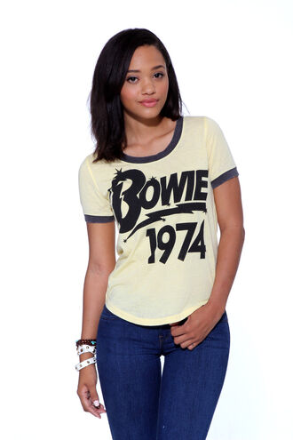 blouse clothe bowie vintage 1974 t-shirt girl david bowie 70s style