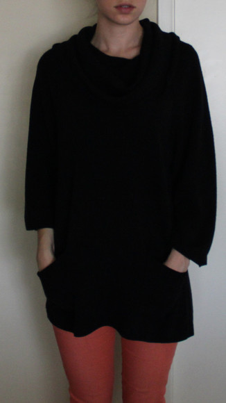 black sweater black sweater cowl neck cashmere boho