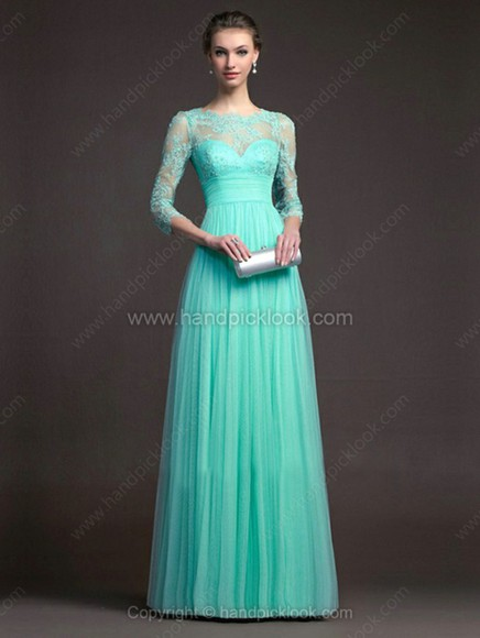 chiffon dress chiffon dress mint lace dress floor length dress turquoise mint dress turquoise dress lace three-quarter sleeves a-line dresses
