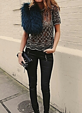t-shirt top glitter sequins black silver shirt party party top leather pants blue fur clutch bracelets