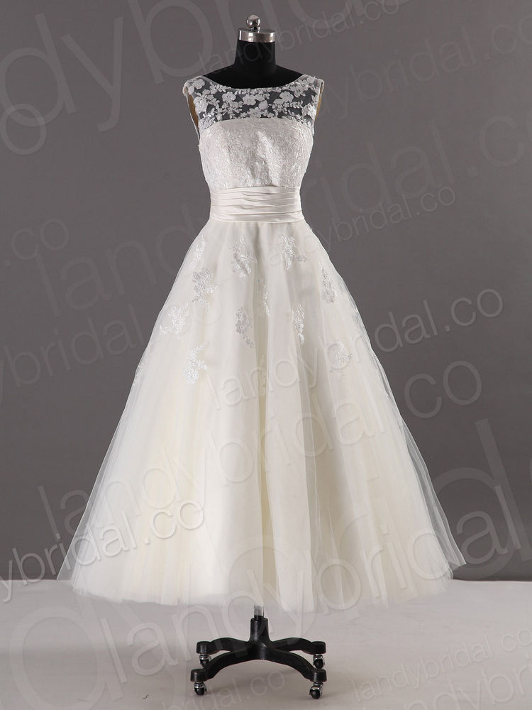 Sleeveless round neck bridal gown calf length short for Calf length wedding dresses