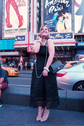 agirl astyle blogger dress shoes bag jewels make-up nail polish black dress midi dress chanel chanel bag high heel sandals
