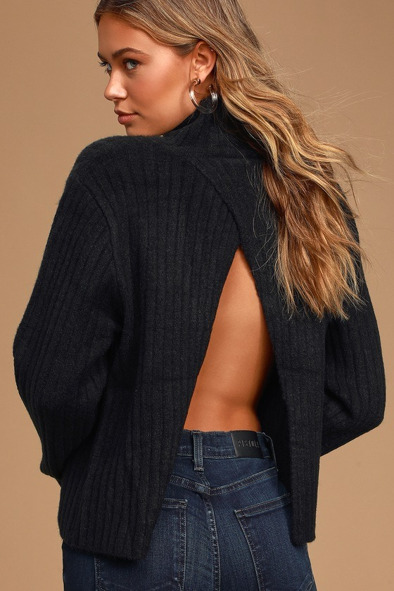 All Set Black Ribbed Knit Backless Turtleneck Sweater
