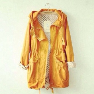 coat yellow mustard windbreaker hipster
