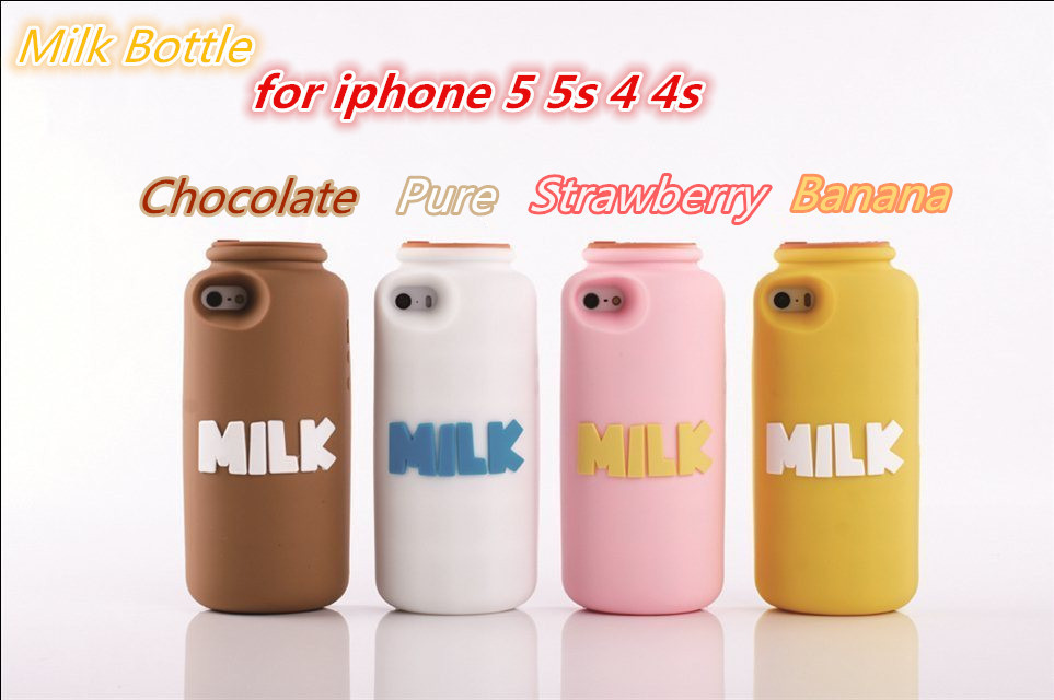 Lovely For iphone 5 5G 5s milk case 3D Cute Milk Bottle Silicone Case Soft Rubber Cellphone cover Strawberry, banana. -in Phone Bags & Cases from Electronics on Aliexpress.com