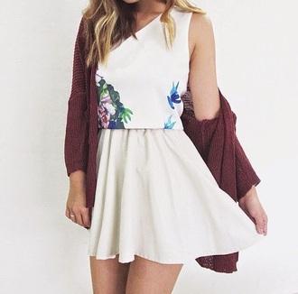 dress flowery short white dress