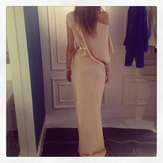 dress clothes long dress maxi dress asymmetrical pwoder pink gold belt belt sleeve beautiful pink dress nude nude dress beige beige dress maxi cute dress prom dress gold off the shoulder dress sexy dress off the shoulder perfect wonderful offf the shoulder dress