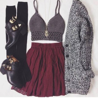 cardigan bordeux crop tops black outift jacket winter outfits style cool girl skirt