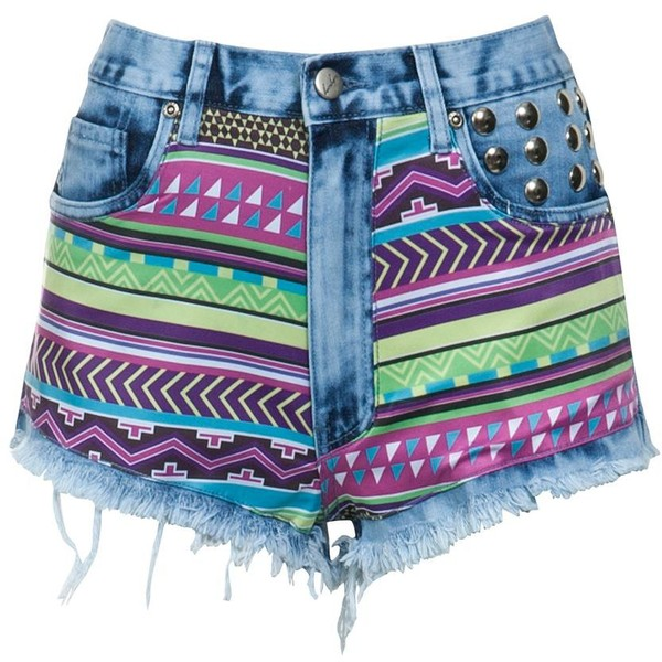 bambam Neon Aztec Print Shorts - Polyvore