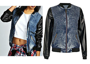 NEW WOMENS ACID WASH DENIM BOMBER JACKET VARSITY FAUX LEATHER SLEEVES BASEBALL | eBay